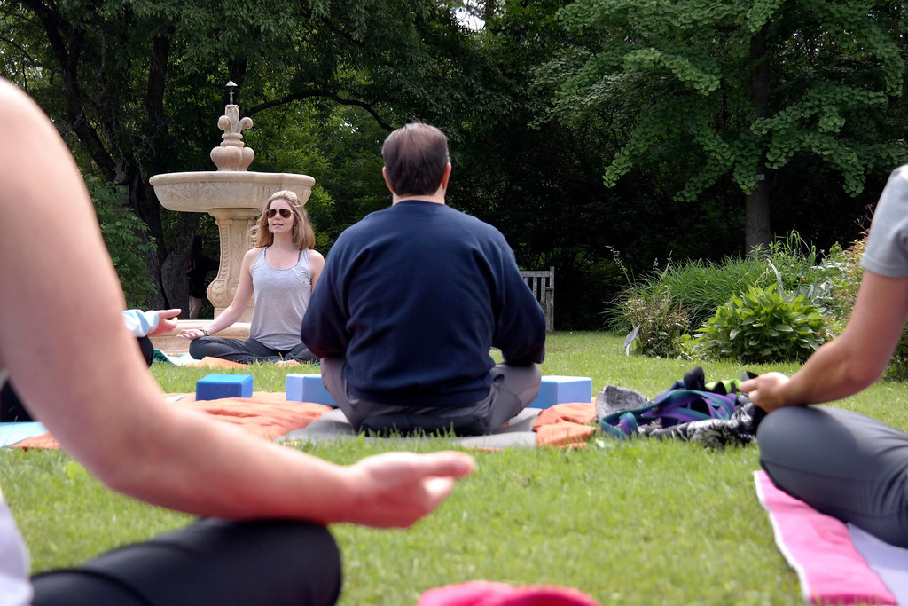 . Rachael Plaine teaches Yoga at Springside Park in Pittsfield as part of National Get Outdoors Day.  Saturday June 14, 2014.  Ben Garver / Berkshire Eagle Staff / photos.berkshireeagle.com