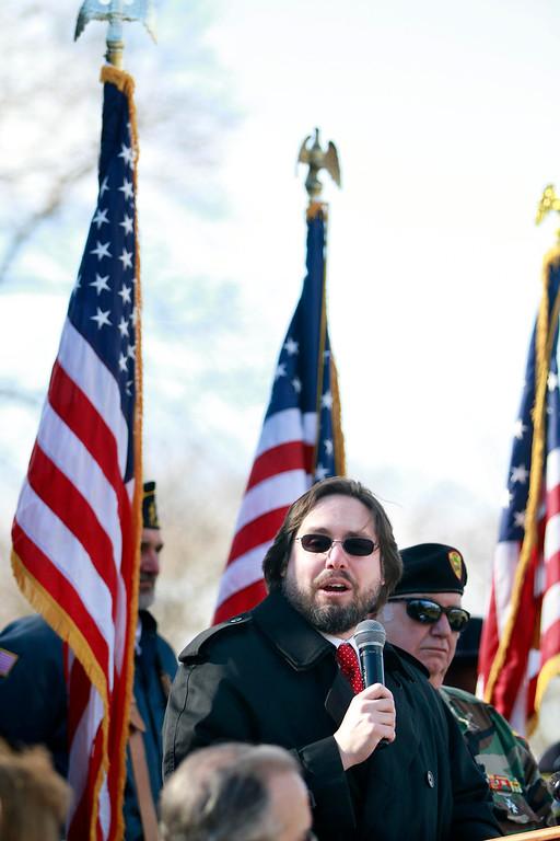 . Rabbi Josh Breindel delivers the keynote address on Veterans Day at the war memorial on South Street in Pittsfield on Monday, November 11, 2013. (Stephanie Zollshan | Berkshire Eagle Staff)