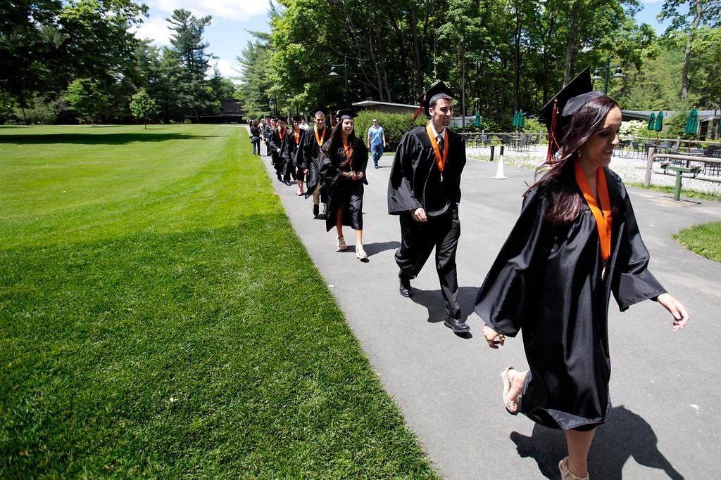 . Graduates walk into the shed for the Lee High School gradation ceremony at Tanglewood in Lenox. Saturday, June 7, 2014. Stephanie Zollshan / Berkshire Eagle Staff / photos.berkshireeagle.com