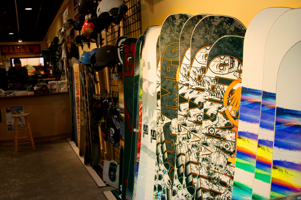 . Gilly\'s Boardshop is one of many new stores that is opening in the Berkshire Mall for the holiday season. Gilly\'s Boardshop offers snowboarding equipment, gear, and clothing as well as skating gear and long boards. November 5th 2013 Holly Pelczynski/Berkshire Eagle Staff