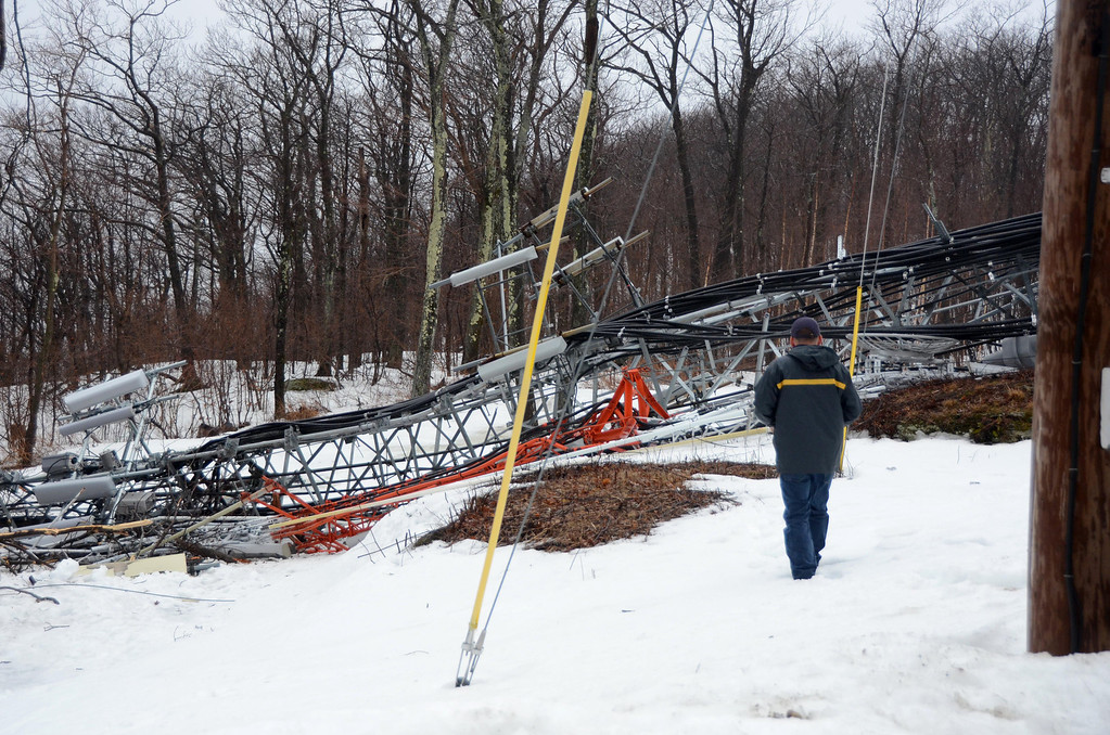 . High winds overnight have toppled the communications tower at the Western Summit in North Adams impacting cell service to North Adams and some surrounding communities. Gillian Jones / Berkshire Eagle Staff / photos.berkshireeagle.com