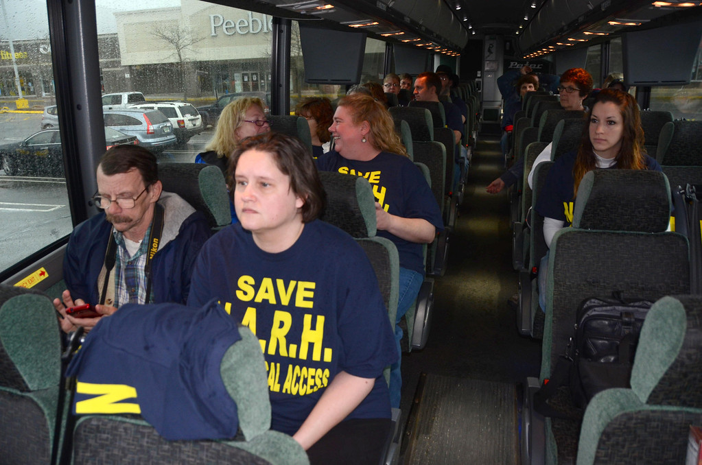 . About 90 people boarded two buses on Tuesday, April, 15, 2014 for a trip from North Adams to the state house in Boston to deliver petitions to Governor Deval Patrick and other state leaders seeking the restoration of a full service hospital in North Adams. Gillian Jones / Berkshire Eagle Staff / photos.berkshireeagle.com
