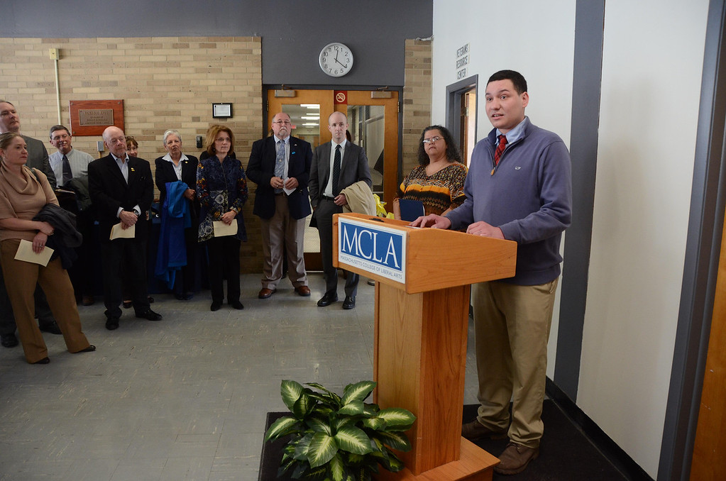 . MCLA junior and U.S. Navy Veteran Brian Nelson speaks during the ribbon cutting ceremony at the Veterans\' Resource Center at the Massachusetts College of Liberal Arts on Wednesday, April, 16, 2014. Gillian Jones / Berkshire Eagle Staff / photos.berkshireeagle.com