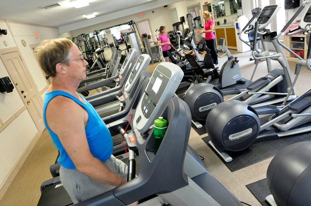 . Bob Green uses the treadmill at the CRA. The Dalton CRA is growing in membership and equipment.  Tue Aug 7 2012 (GARVER)