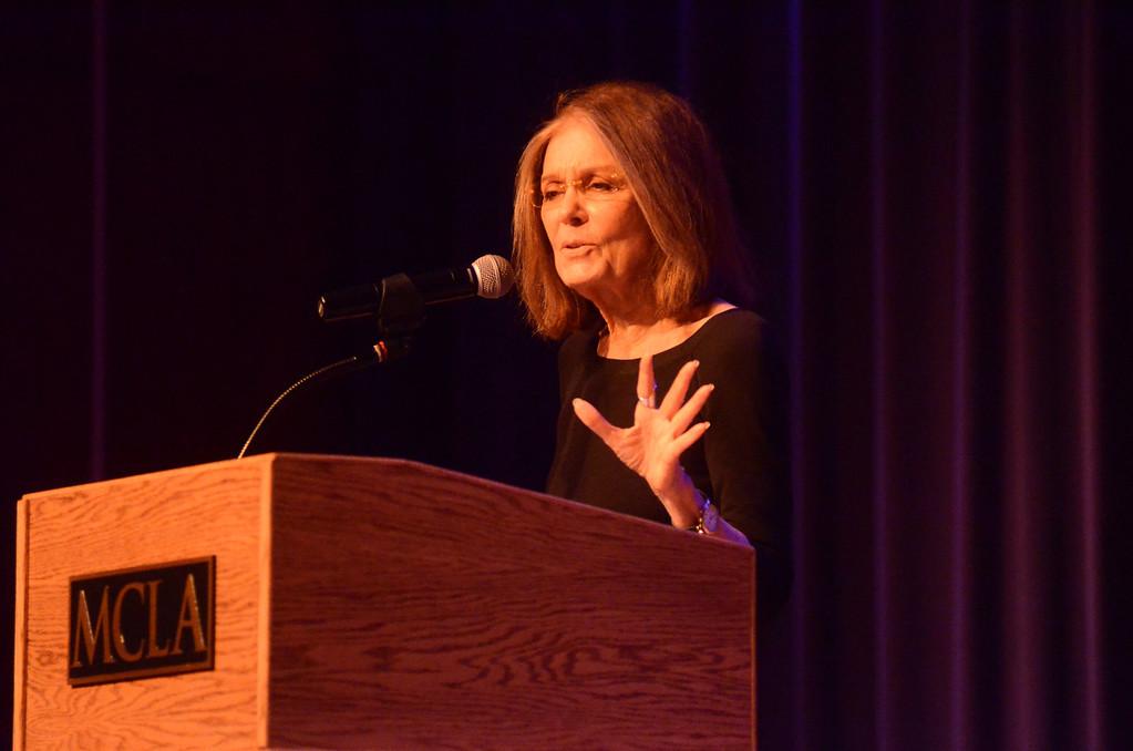 . Gloria Steinem speaks at the Church Street Center on Tuesday, March, 4, 2014. Gillian Jones / Berkshire Eagle Staff / photos.berkshireeagle.com