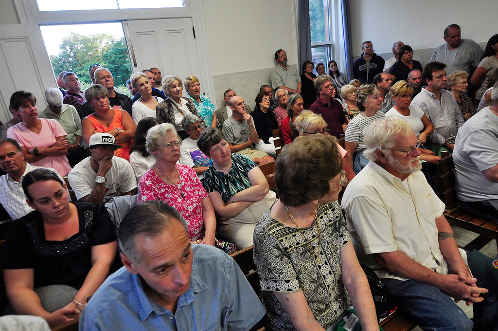 . Council chambers were standing room only at the Lee Town Hall on Tuesday evening for the public hearing regarding police chief Joseph Buffis.  Tuesday August 20 2013 Caroline Bonnivier Snyder / Berkshire Eagle Staff