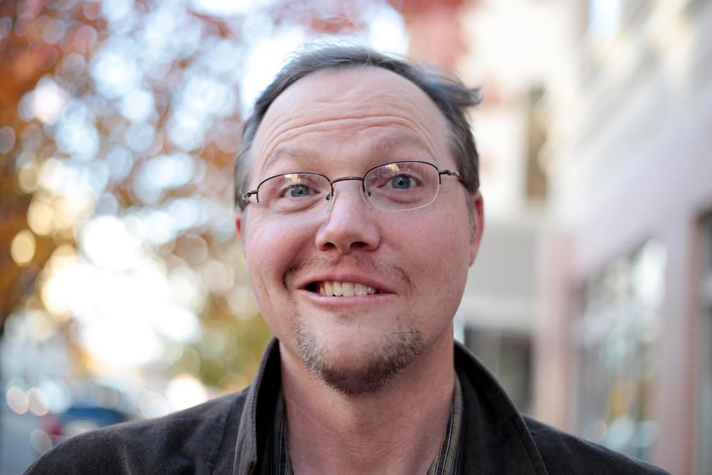 . Ray Smith sports his \'Movember\' moustache in Pittsfield. Friday, November 8, 2013. (Stephanie Zollshan | Berkshire Eagle Staff)