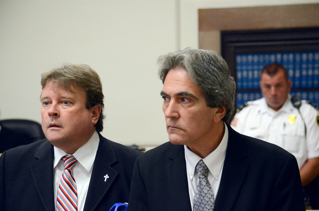 . Paul Capitanio (right) is arraigned Berkshire Centeral District Court on drug related charges, Tuesday August 20, 2013.  Attorney Timothy Shugrue is on the left. Ben Garver / Berkshire Eagle Staff