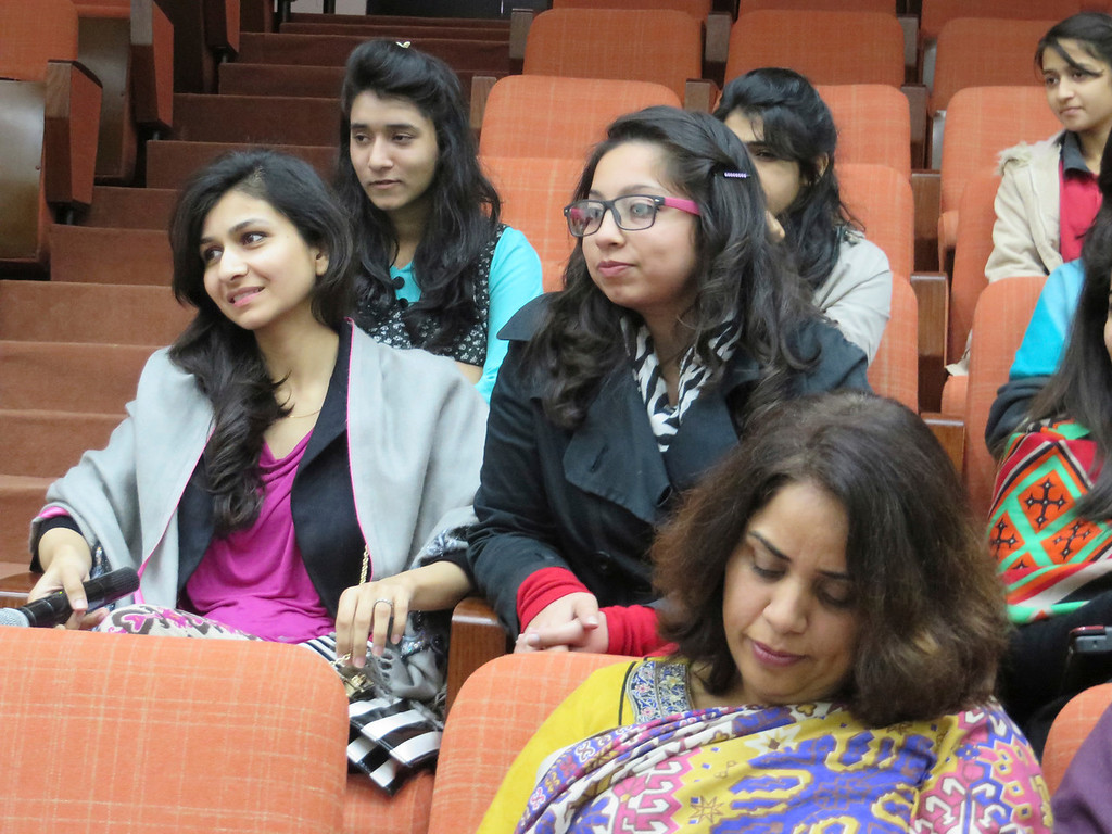 . Media studies students from Kinnaird College, a women\'s college in Lahore, Pakistan, met for a a panel presentation with U.S. reporters and news staff visiting with the International Center for Journalists. Jenn Smith/Special to The Eagle, Feb. 2014