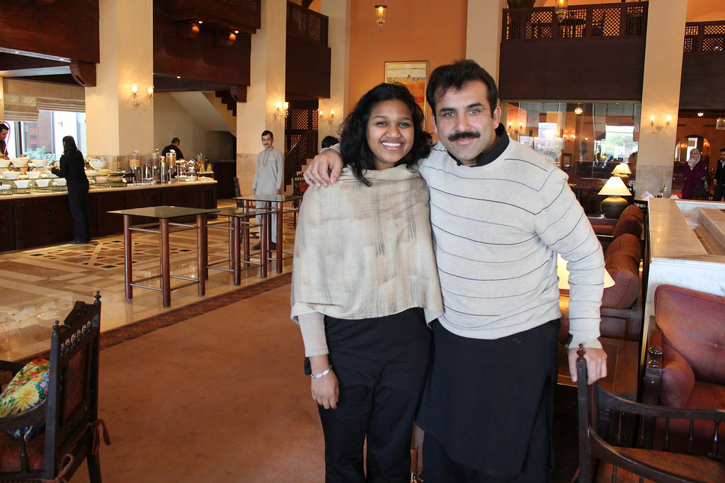 . Berkshire Eagle community engagement editor and reporter Jenn Smith (left) reunites with Adnan Rashid, The Eagle\'s 2012 Daniel Pearl-Syed Saleem Shahzad journalism fellow in Islamabad, Pakistan. Smith traveled to Pakistan in February as part of a fellowship with the Washington, D.C.-based International Center for Journalists. Photo courtesy of Adnan Rashid.