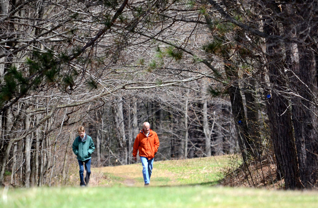 . Terry and Rick Rabideau hike up from the beaver pond at Pleasant Valley in Lenox. Monday May 5, 2014.  Ben Garver / Berkshire Eagle Staff / photos.berkshireeagle.com