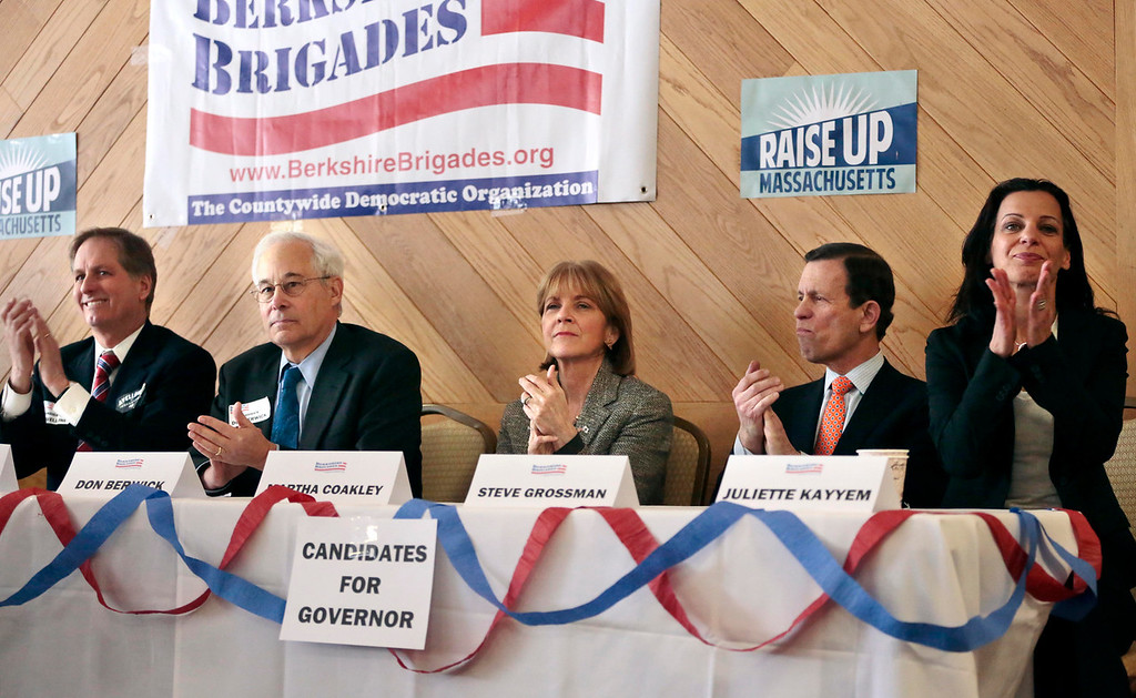 . Democratic gubernatorial candidates Joe Avellone, left, Don Berwick, center left, Martha Coakley, center, Steve Grossman, center right, and Juliette Kayyem, right, sit down for a candidate meet-and-greet held by the Berkshire Brigades at the ITAM lodge in Pittsfield. Sunday, January 26, 2014. (Stephanie Zollshan | Berkshire Eagle Staff)
