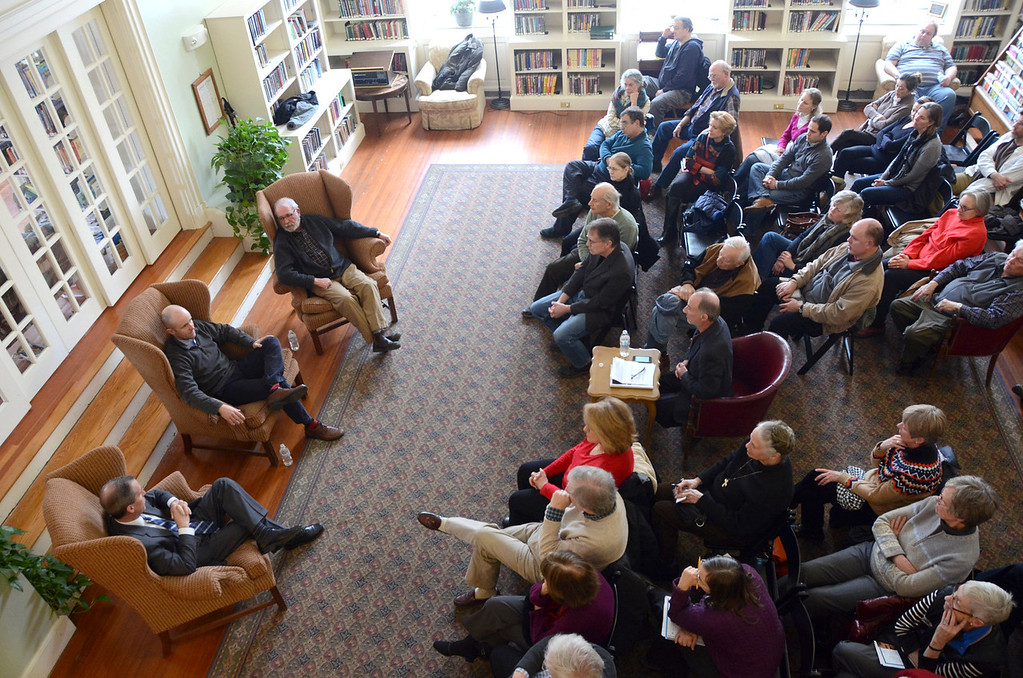 . From left, state Rep. William \'Smitty\' Pignatelli, state Sen. Benjamin B. Downing and David Roche, chairman of the Lenox Board of Selectmen participate in a panel discussion titled \'Local Government: Making the System Work for You,\' in the Sedgwick Reading Room at the Lenox Public Library on Sunday, March, 23, 2014. Gillian Jones / Berkshire Eagle Staff / photos.berkshireeagle.com