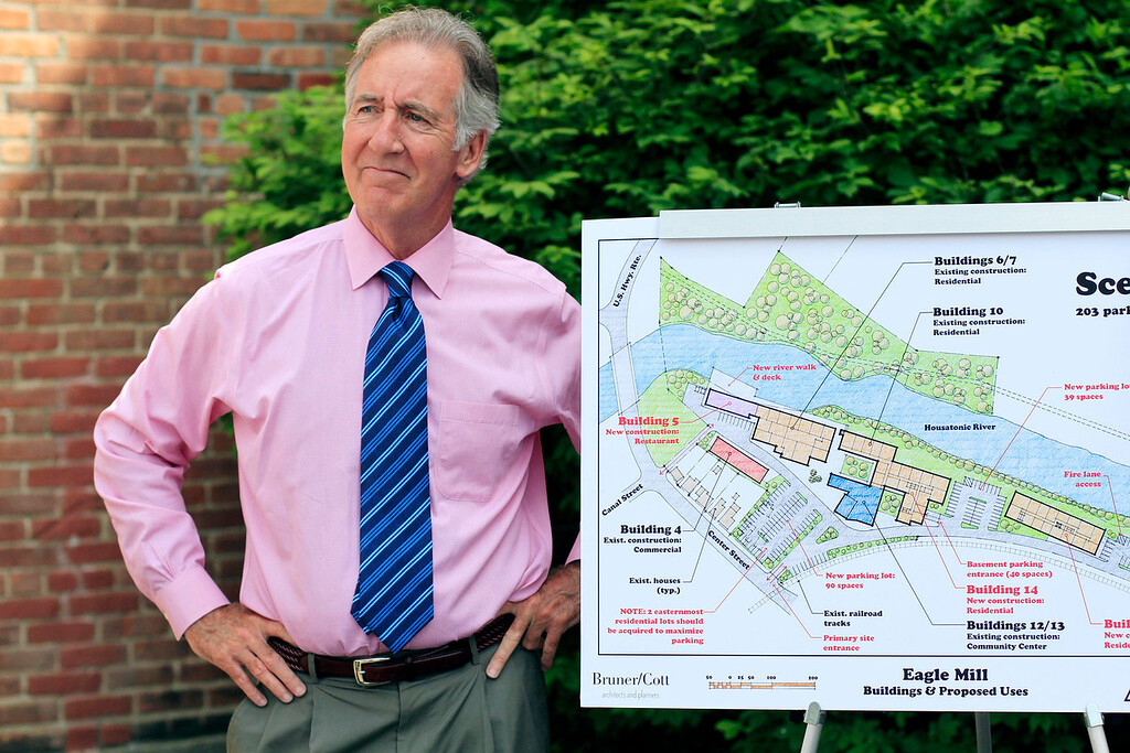 . Congressman Richard Neal and Rep. William \'Smitty\' Pignatelli announce a $115,000 EPA Brownfield Grant for the Eagle Mill Complex in Lee on Tuesday, June 17, 2014. Stephanie Zollshan / Berkshire Eagle Staff / photos.berkshireeagle.com