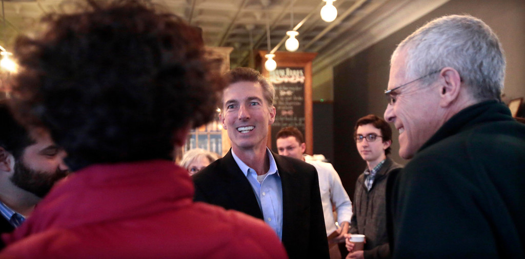 . Tom Conroy meets with supporters at Dottie\'s Cafe in Pittsfield during a stop on his campaign trail for state treasurer. Sunday, January 12, 2014. (Stephanie Zollshan | Berkshire Eagle Staff)