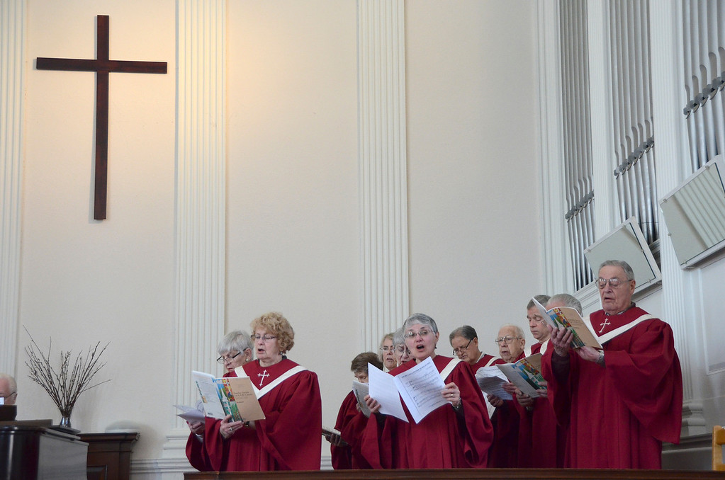 . Members of the South Congregational Church choir in Pittsfield sing at the celebration service for the church\'s capital campaign on Sunday, March, 16, 2014. Gillian Jones / Berkshire Eagle Staff / photos.berkshireeagle.com