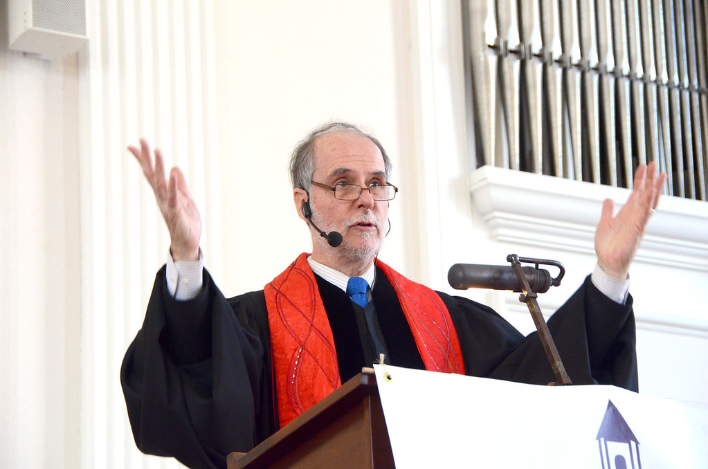 . Rev. Joel H. Huntington speaks to his congregation during the celebration service for the church\'s capital campaign at the South Congregational Church in Pittsfield on Sunday, March, 16, 2014. Gillian Jones / Berkshire Eagle Staff / photos.berkshireeagle.com