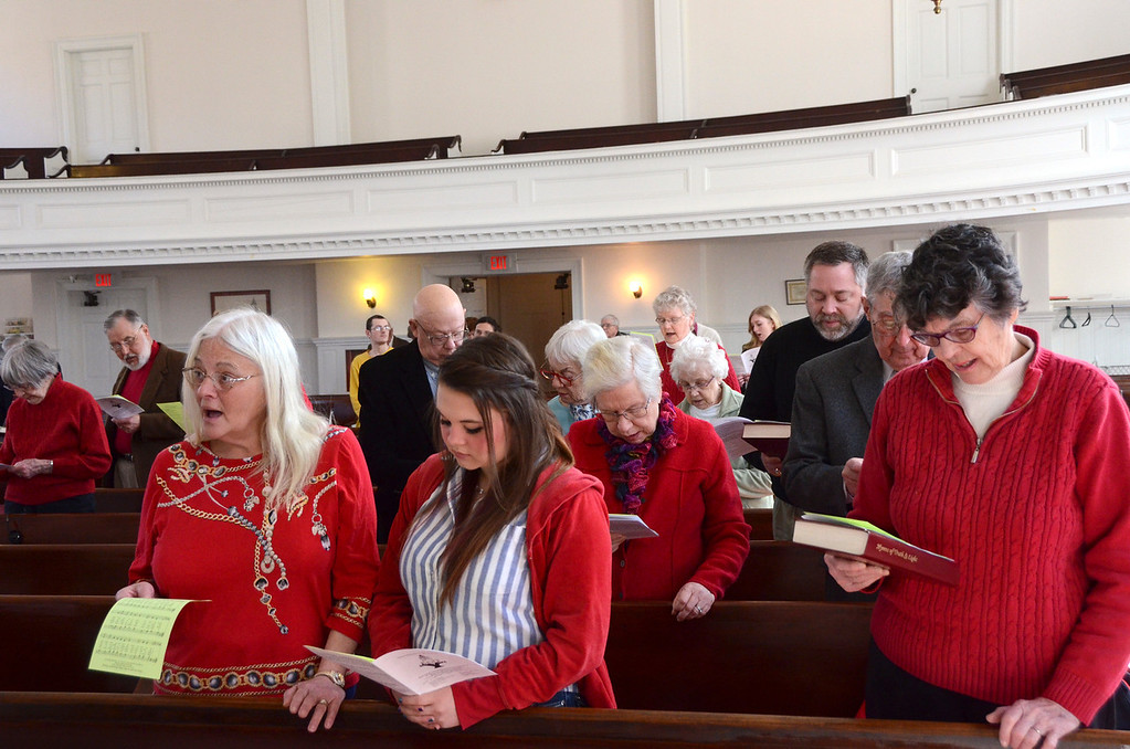 . Members of the South Congregational Church in Pittsfield sing at the celebration service for the church\'s capital campaign on Sunday, March, 16, 2014. Gillian Jones / Berkshire Eagle Staff / photos.berkshireeagle.com