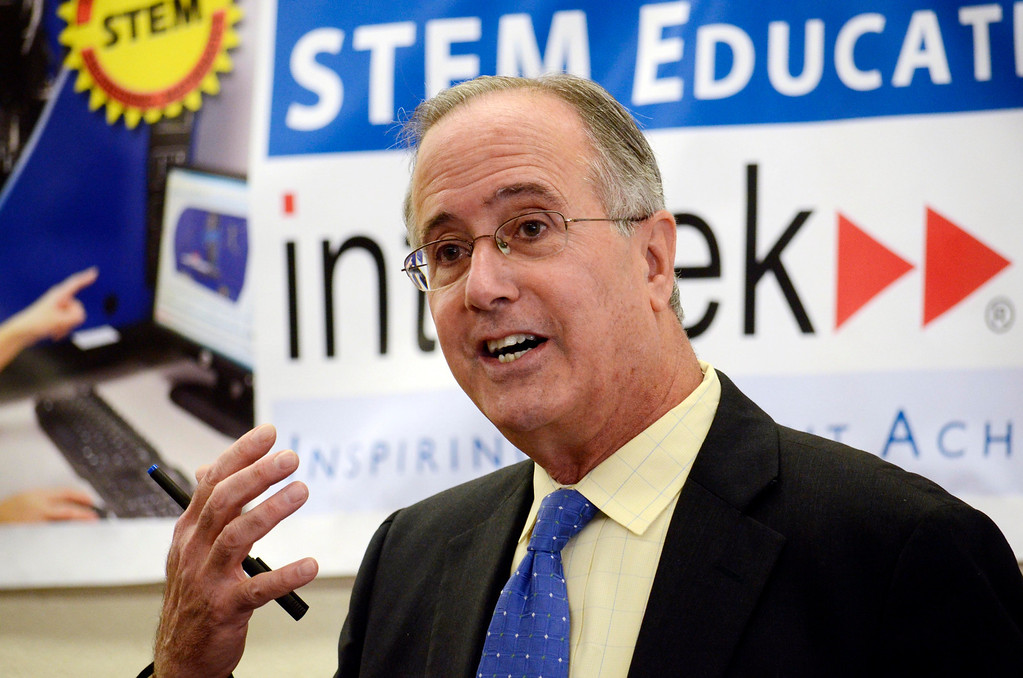 . Pittsfield Mayor Dan Bianchi speaks at Taconic High School at the unveiling of new vocational technology for automated manufacturing. Tuesday October 1, 2013. Ben Garver / Berkshire Eagle Staff