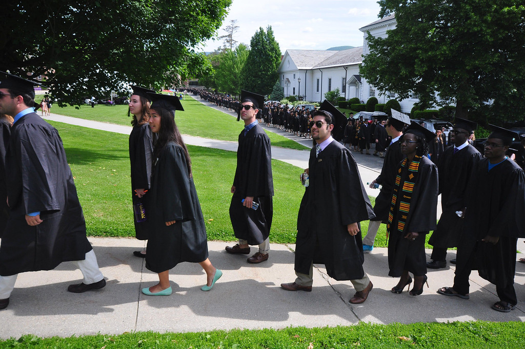 . Williams College students march in a procession from Chapin Hall to graduation exercises at the college\'s 225th commencement on Sunday, June, 8, 2014. Gillian Jones / Berkshire Eagle Staff / photos.berkshireeagle.com