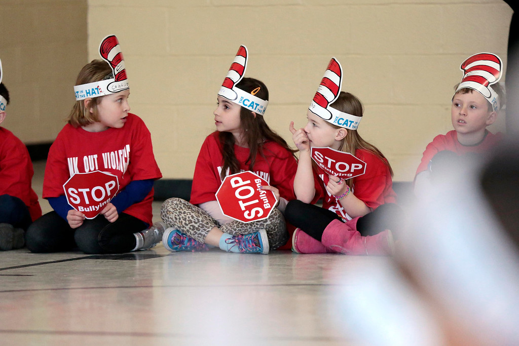 . The second grade class at Williams Elementary School in Pittsfield attends an anti-violence and anti-bullying program. Wednesday, March 26, 2014. Stephanie Zollshan / Berkshire Eagle Staff / photos.berkshireeagle.com