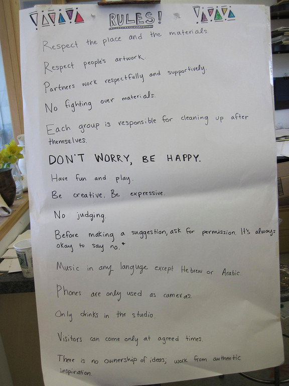 """. Students in the Artsbridge program based at Buxton School in Williamstown this summer posted this list of art studio rules, from \""""Respect the place and the materials\"""" to \""""Don\'t worry, be happy.\"""" Sunday, July 21, 2013 Jenn Smith/Berkshire Eagle Staff"""