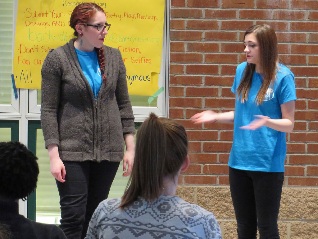 . From left: Playwright Mentoring Project peer mentor Madelyn Gardner (left) portrays a mother arguing with her daughter, played by PMP youth member Alexis Lesure, during a performance at Berkshire Arts and Technology Charter Public School in Adams. Jenn Smith/Berkshire Eagle Staff/photos.berkshireeagle.com Friday, April 4, 2014