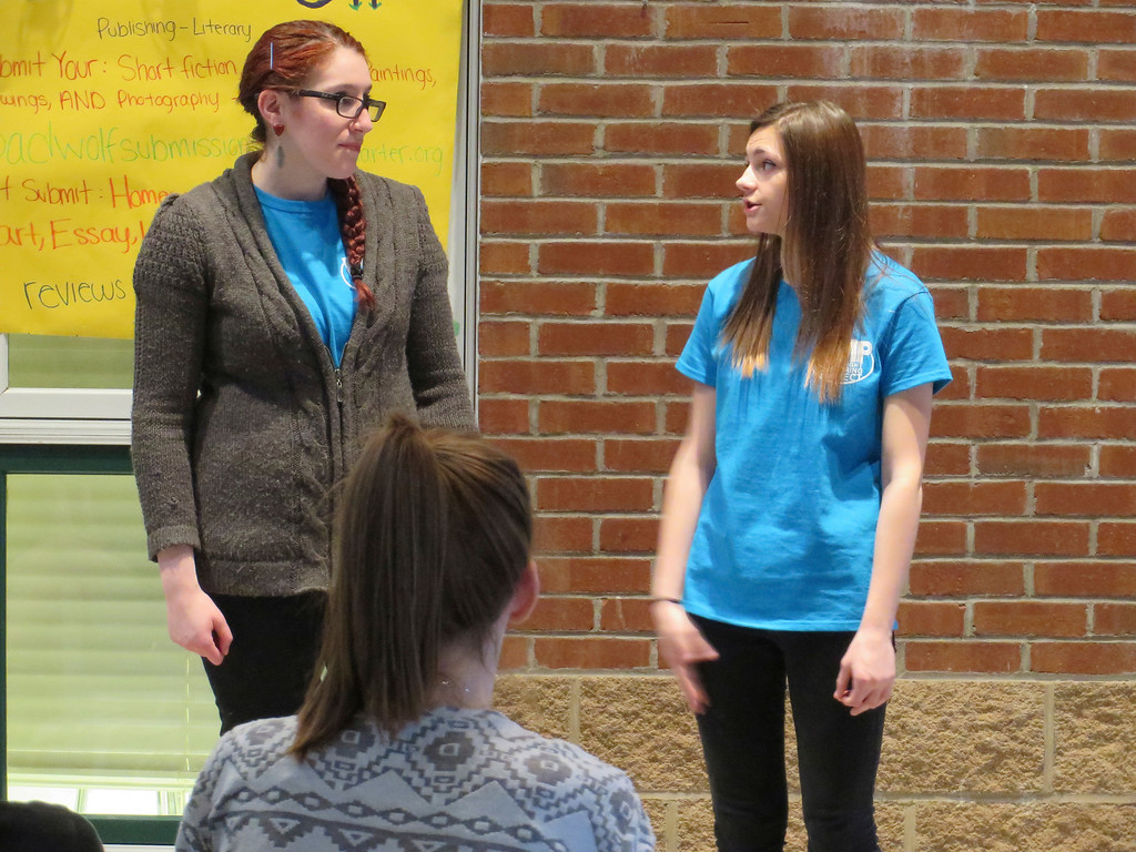 . Playwright Mentoring Project peer mentor Madelyn Gardner (left) portrays a mother arguing with her daughter, played by PMP youth member Alexis Lesure, during a performance at Berkshire Arts and Technology Charter Public School in Adams. Jenn Smith/Berkshire Eagle Staff/photos.berkshireeagle.com Friday, April 4, 2014