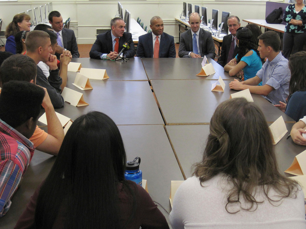 . Sixteen students representatives of Pittsfield High School met in a roundtable forum with state and local officials on Monday. Adults listening from left: State Rep. Tricia Farley-Bouvier, PHS Principal Matt Bishop, state Sec. of Education Matthew Malone, Gov. Deval Patrick, Sen. Benjamin Downing and Pittsfield Mayor Daniel Bianchi. Jenn Smith/Berkshire Eagle Staff Monday, Oct. 7, 2013
