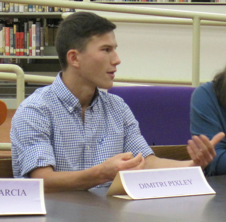 . Pittsfield High School senior Dmitri Pixley speaks during a roundtable discussion with Gov. Deval Patrick and state Sec. of Education Matthew Malone held Monday at the school. Jenn Smith/Berkshire Eagle Staff Monday, Oct. 7, 2013