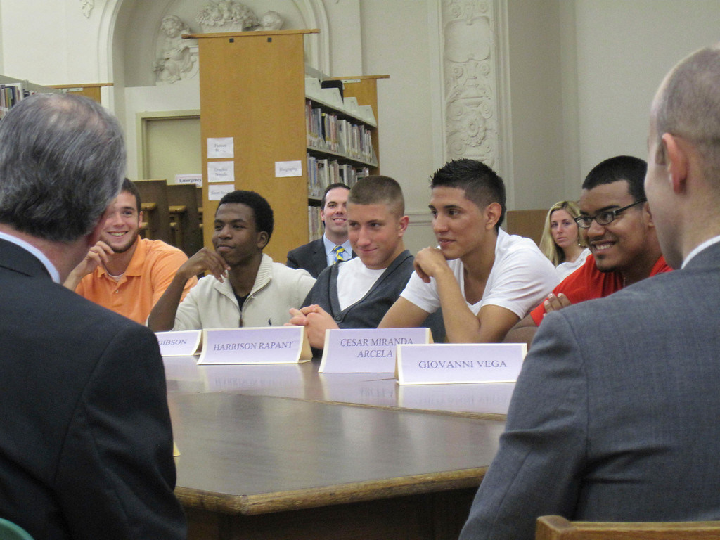 . Sixteen students representatives of Pittsfield High School met in a roundtable forum with Gov. Deval Patrick, state Sec. of Education Matthew Malone and other state and local officials on Monday. The goal of the meeting was to hear and discuss students\'s education concerns and successes. Jenn Smith/Berkshire Eagle Staff Monday, Oct. 7, 2013