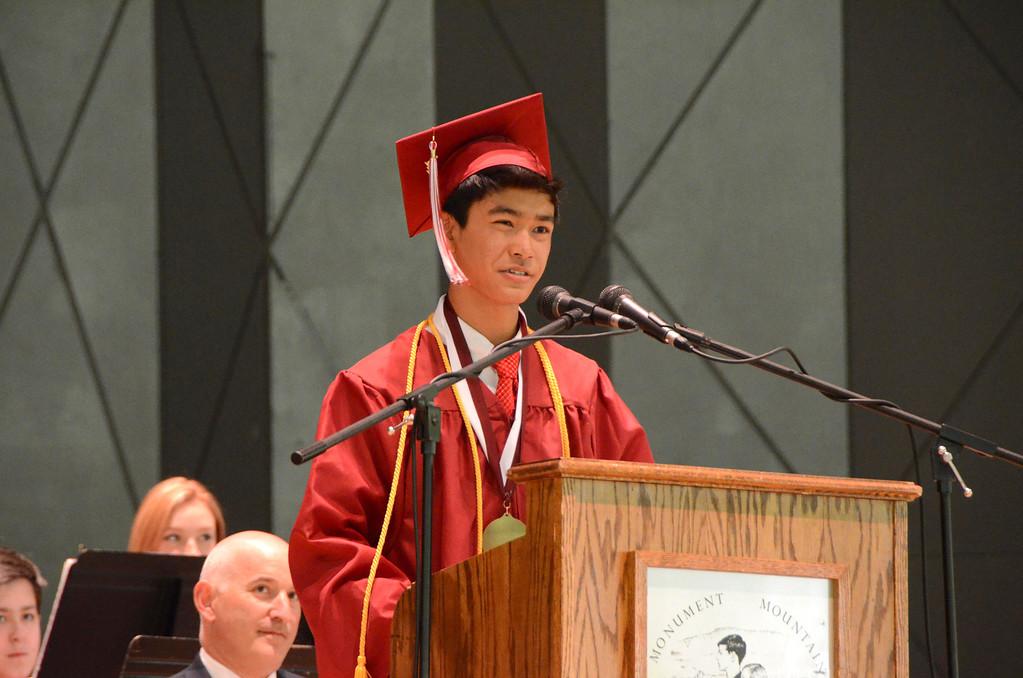 . Salutatorian Kevin Li speaks during Monument Mountain Regional High School exercises at Tanglewood in Lenox on Sunday, June, 1, 2014. Gillian Jones / Berkshire Eagle Staff / photos.berkshireeagle.com