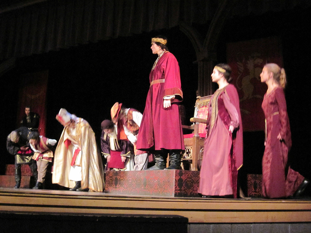 ". Lenox Memorial Middle and High School students perform a scene from their Fall Festival of Shakespeare production of ""Richard III.\"" Jenn Smith/Berkshire Eagle Staff Thursday, Nov. 14, 2013"