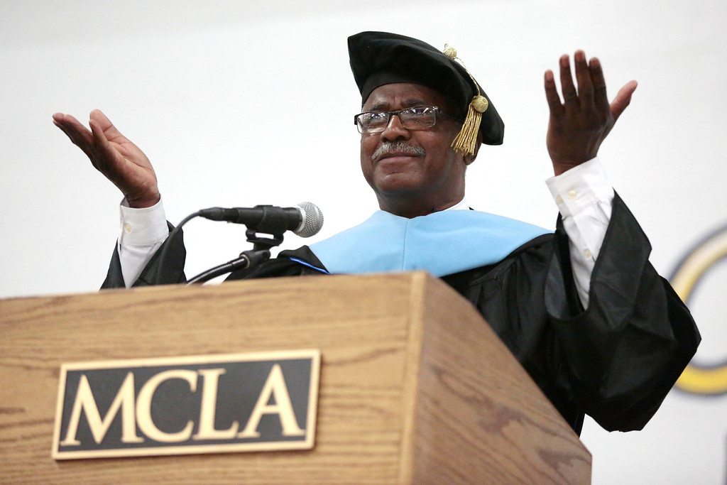 . Charles Desmond delivers the commencement address to the graduates during the MCLA commencement ceremony in North Adams. Saturday, May 17, 2014.