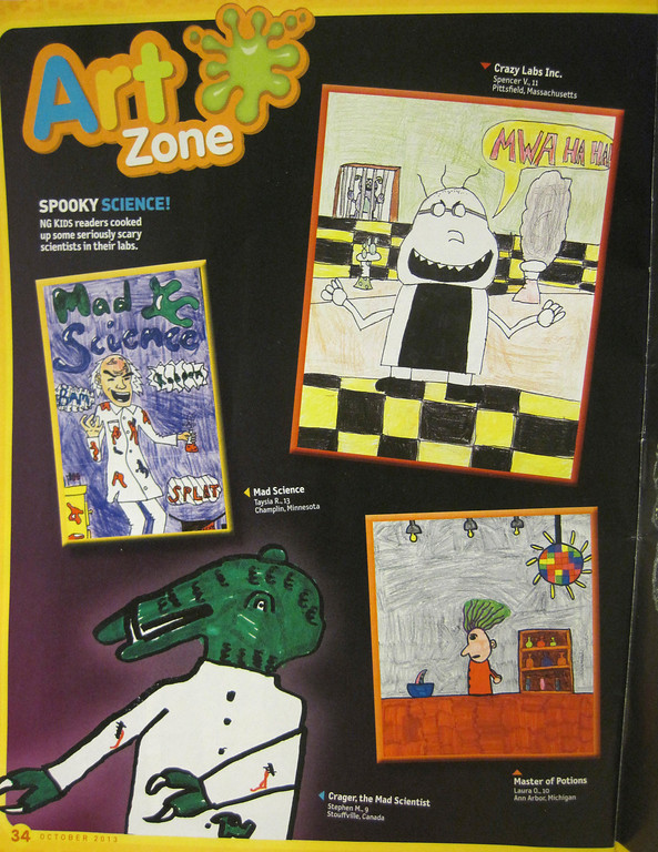 """. The drawing, \'Crazy Labs Inc.,\"""" (top, right) created by 11-year-old Spencer Villinski of Pittsfield appears in this month\'s Halloween-themed issue of National Geographic Kids magazine. Jenn Smith/Berkshire Eagle Staff Monday, Oct. 21, 2013"""