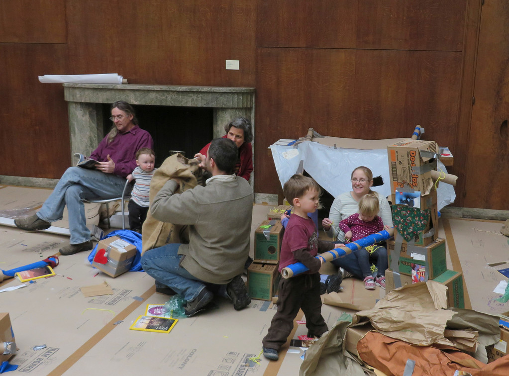. With burlap, rolls of tape, cardboard boxes and paper, families discover any creation is possible in the Ten Days of Play exhibit going on now at the Berkshire Museum in Pittsfield. Jenn Smith/Berkshire Eagle Staff Monday, Feb. 17, 2014