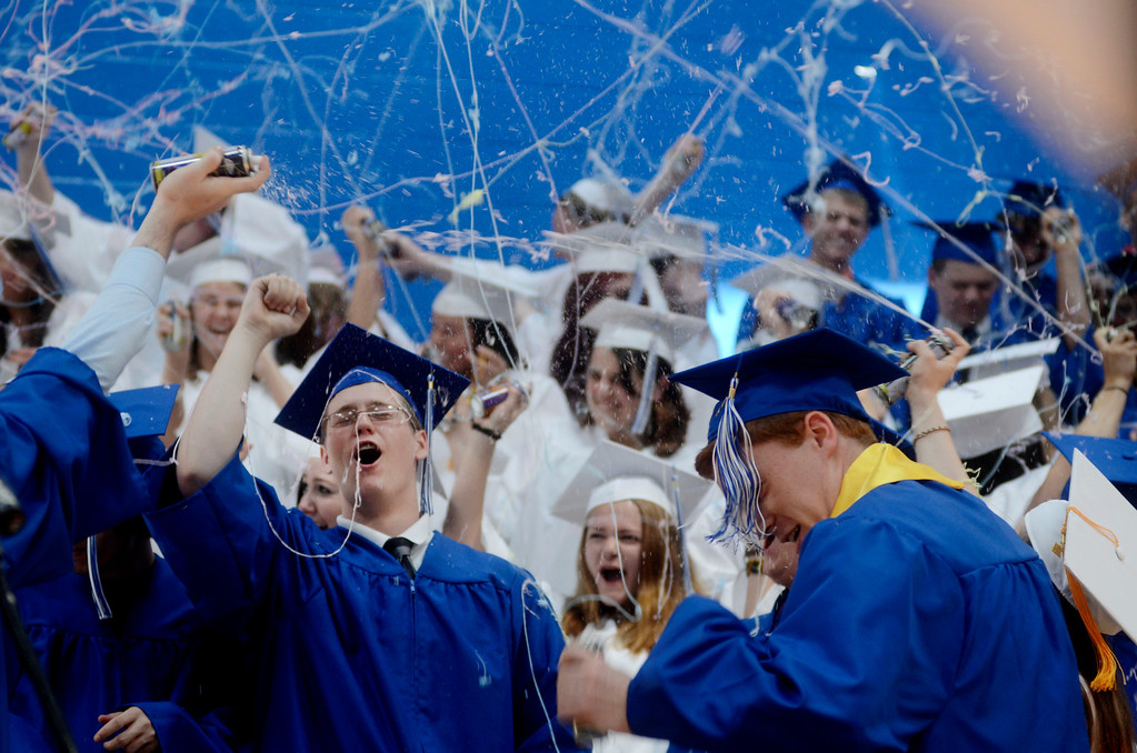 . Graduates celebrate at Wahconah Regional High Schooo.  June 8 2014 Caroline Bonnivier Snyder