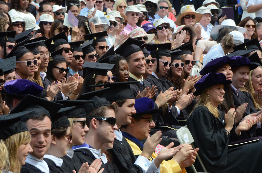 . Williams College students applaud a speaker during graduation exercises at the college\'s 225th commencement on Sunday, June, 8, 2014. Gillian Jones / Berkshire Eagle Staff / photos.berkshireeagle.com