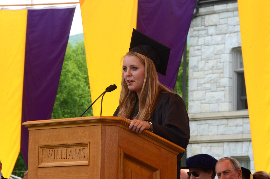 . Williams College senior Julia Juster gives an address at the college\'s 225th commencement on Sunday, June, 8, 2014. Gillian Jones / Berkshire Eagle Staff / photos.berkshireeagle.com