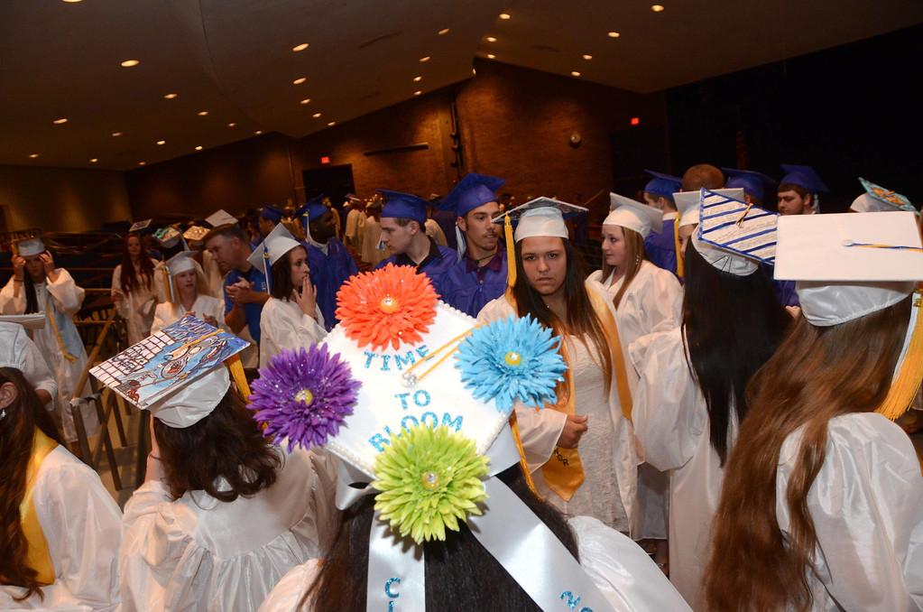. Seniors gather in the auditorium prior to Drury High School graduation exercises in the school gymnasium on Thursday, June, 12, 2014. Gillian Jones / Berkshire Eagle Staff / photos.berkshireeagle.com