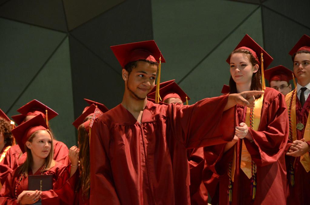 . Melvin Olaverria points into the audience prior to receiving his diploma at Lenox Memorial High School graduation at Tanglewood on Sunday, June, 8, 2014. Gillian Jones / Berkshire Eagle Staff / photos.berkshireeagle.com
