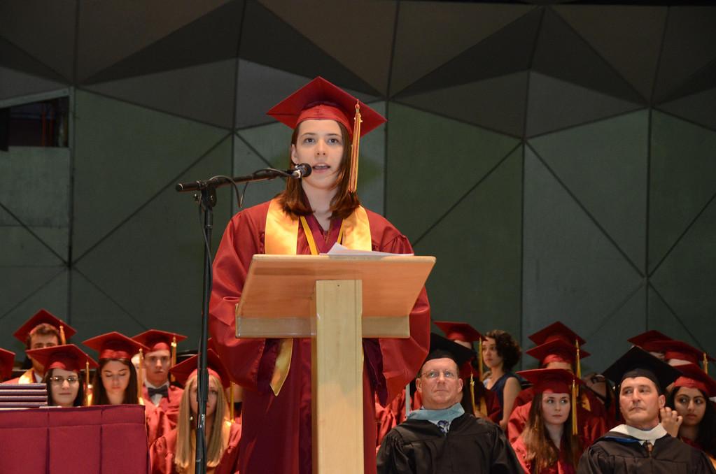 . Delaney Moran gives the valedictorian speech at Lenox Memorial High School graduation at Tanglewood on Sunday, June, 8, 2014. Gillian Jones / Berkshire Eagle Staff / photos.berkshireeagle.com
