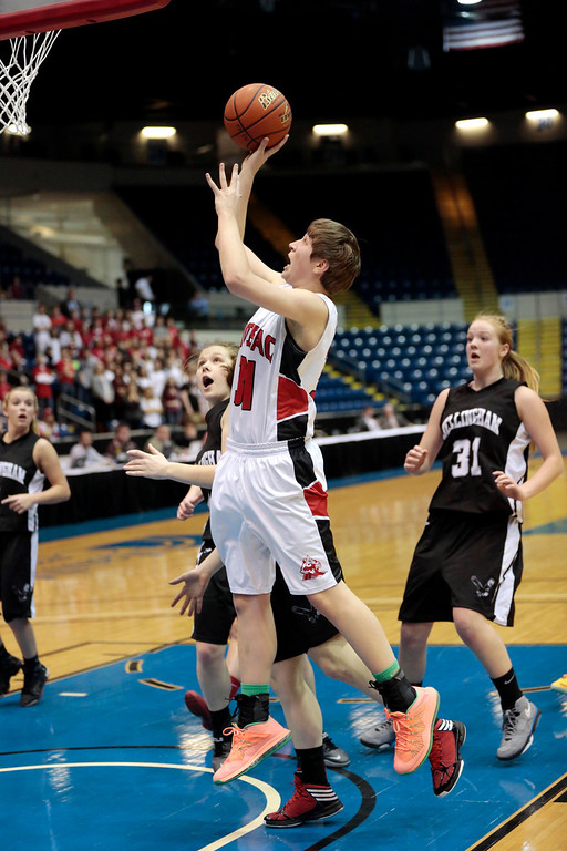 . Hoosac\'s Emily Rosse takes a shot in the state semifinal basketball game that they won against Bellingham at the MassMutual Center in Springfield. Tuesday, March 11, 2014. Stephanie Zollshan / Berkshire Eagle Staff / photos.berkshireeeagle.com