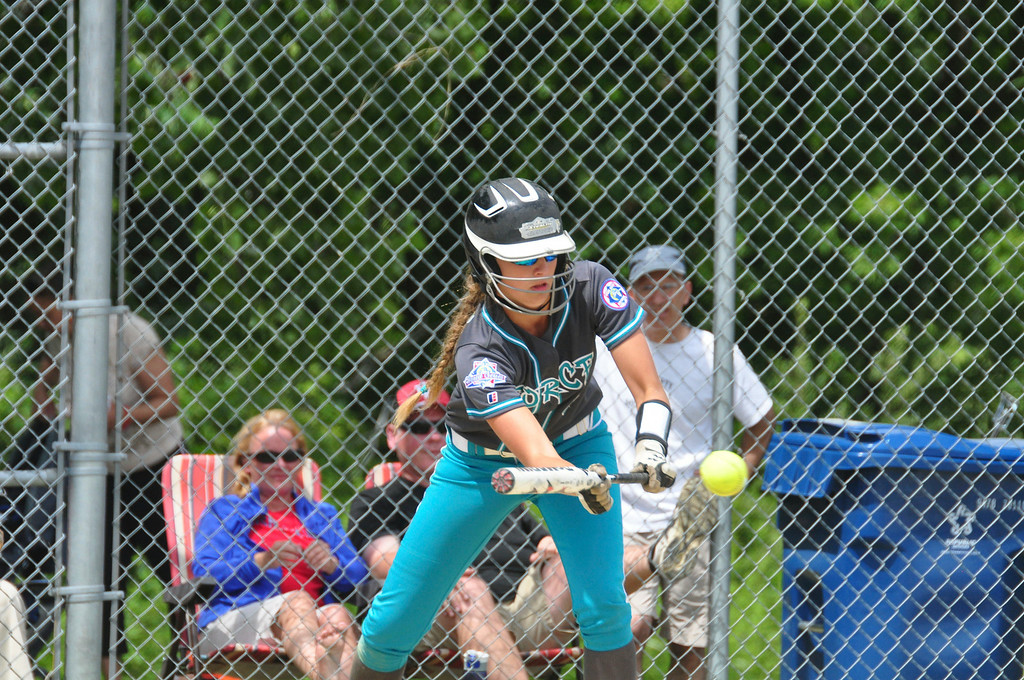 . Berkshire Force\'s Allie Hunt bunts the ball in their game against Rochester, on Sunday, August, 3, 2014. Gillian Jones / Berkshire Eagle Staff / photos.berkshireeagle.com