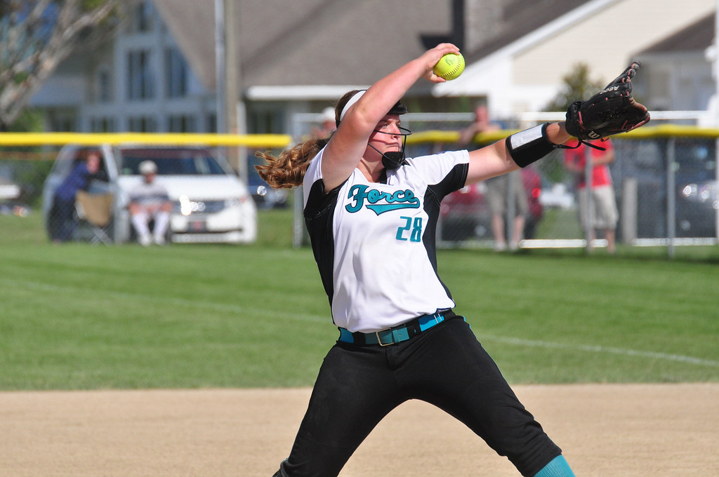 . The Berkshire Force\'s Ashley Keegan pitches against Rochester in the Commissioner\'s Cup. Gillian Jones / Berkshire Eagle Staff / photos.berkshireeagle.com