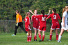 Greylock's Melissa Swann is congratulated by her teammates on her goal, the first of two scored by Greylock to win 2-1 over Drury. (Gillian Jones/North Adams Transcript)
