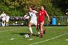 Drury's Jillian Tietgens and Greylock's Mackenzie Flynn battle for the ball. (Gillian Jones/North Adams Transcript)