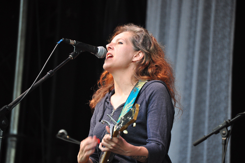 . Jack Guerino/ North Adams Transcript Neko Case performs opens on the main stage for Wilco Saturday night at the Solid Sound Festival.