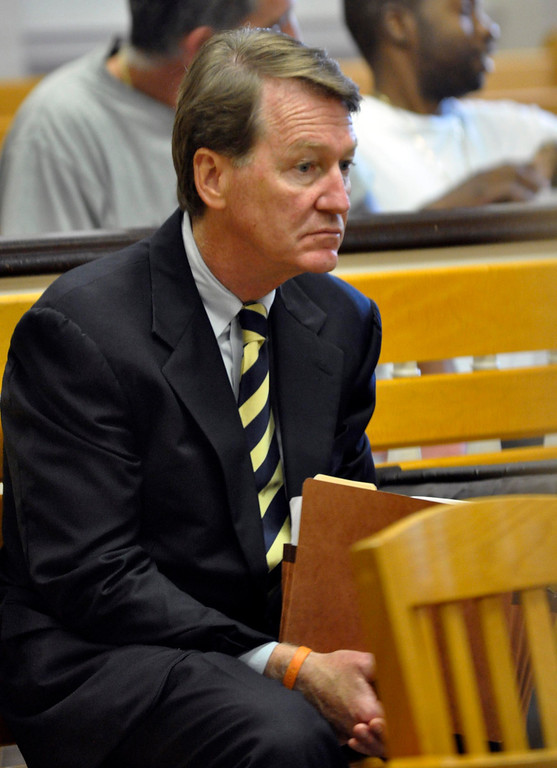 . DIstrict Attorney David F. Capeless waits during the arraignment of  Adam Lee Hall, David Chalue and Cais Veiovis (Roy Gutfinski) on triple murder charges, Mon Sept 12, 2011 (GARVER)