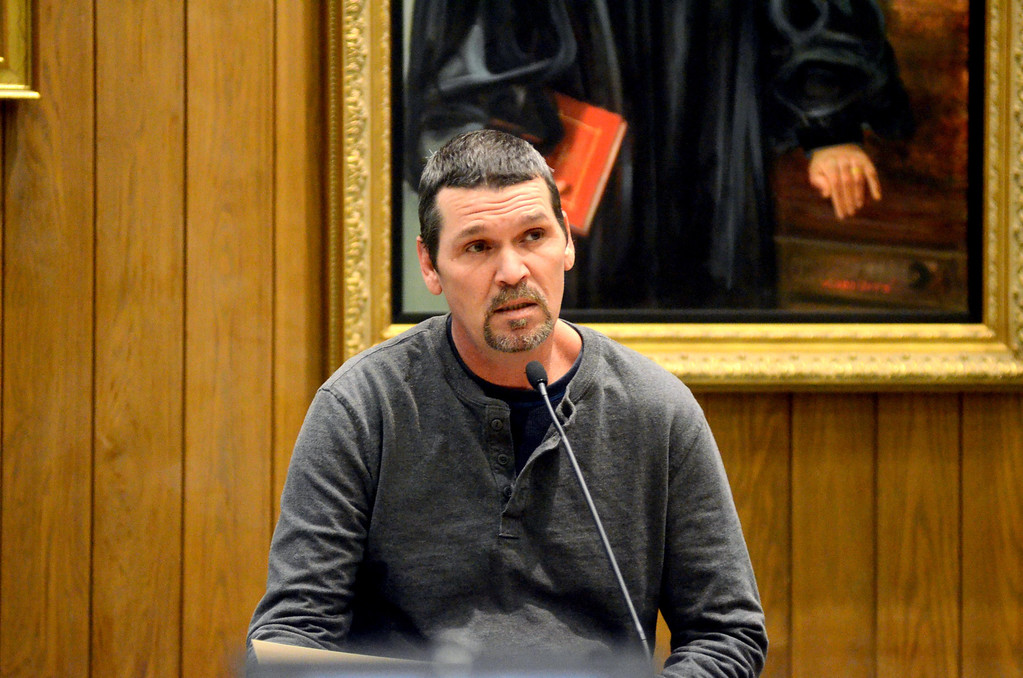 . William Ferry of Pittsfield testifies in the Adam Hall trial in Springfield on Wednesday, January, 22, 2014. Gillian Jones/Berkshire Eagle Staff